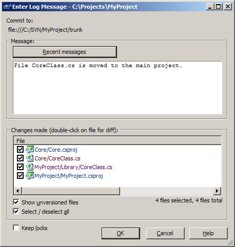TortoiseSVN's Commit window